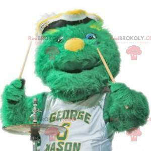 Mascote monstro verde todo peludo - Redbrokoly.com