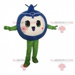 Mascote de mirtilo engraçado e fofo, fantasia de frutas -
