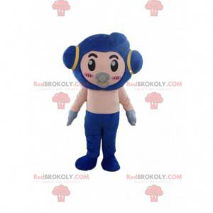 Mascote robô com chupeta e fantasia futurística de bebê -