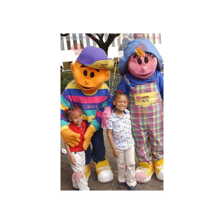 2 maskoti: růžová dívka a oranžový chlapec - Redbrokoly.com