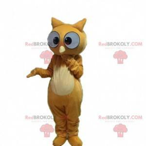 Maskot hnědá sova vypadá překvapeně, kostým sovy -