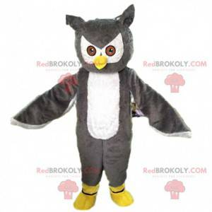 Giant and impressive gray and white owl mascot - Redbrokoly.com