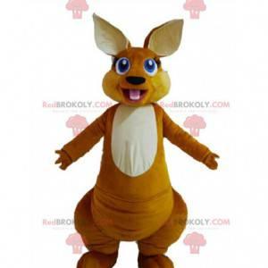 Brun kænguru-maskot med smukke blå øjne - Redbrokoly.com