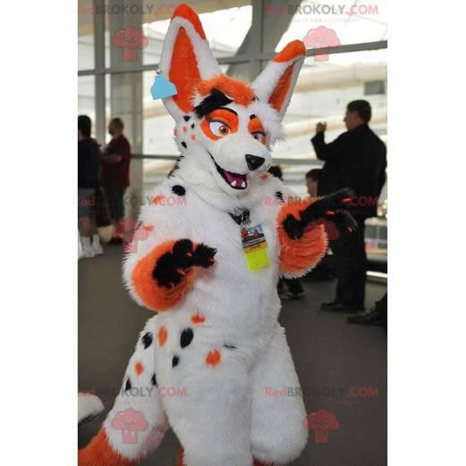 Orange und schwarz weiß Hundemaskottchen - Redbrokoly.com