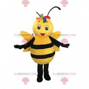 Mascotte ape gialla e nera, costume da vespa sorridente -