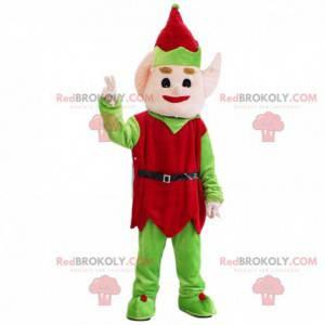 Mascota de elfo de Navidad rojo y verde, traje de Navidad -