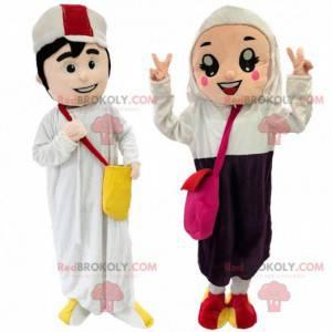 2 mascotte, un uomo e una donna orientali, coppia araba -