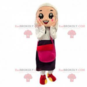 Veiled woman mascot, elegant oriental woman costume -