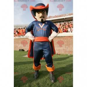 Blaues und orange Musketiermaskottchen - Redbrokoly.com