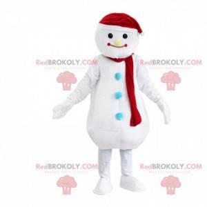 Reusachtige witte sneeuwman mascotte, winterkostuum -