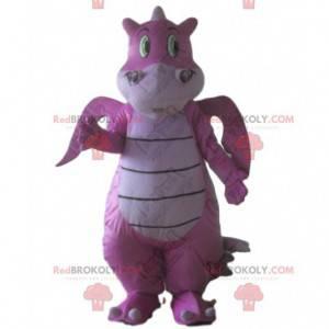 Mascote de dragão rosa, fantasia de dinossauro rosa gigante -
