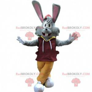 Mascote coelho cinza com orelhas grandes, fantasia de coelho -