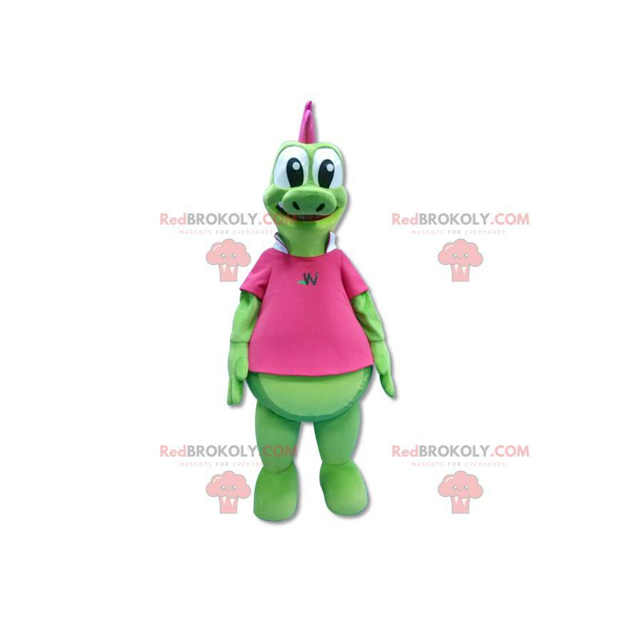 Green dragon mascot with pink crest - Redbrokoly.com