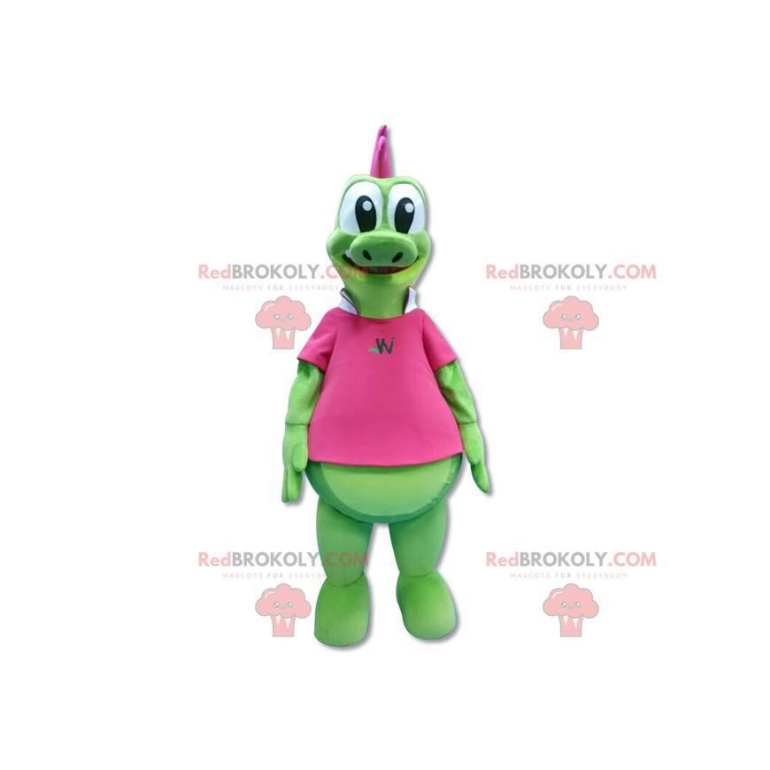 Maskotka zielony smok z różowym grzebieniem - Redbrokoly.com