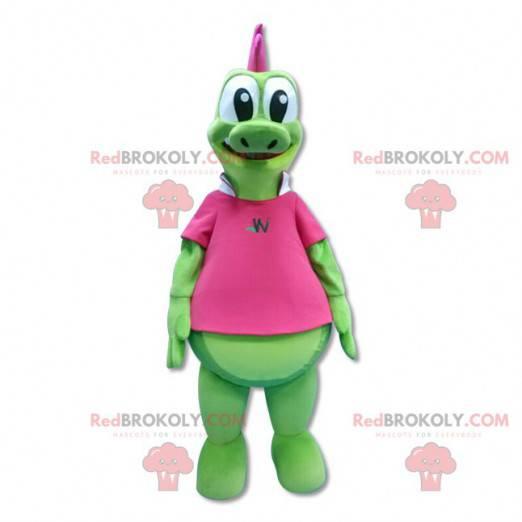 Zelený drak maskot s růžovým hřebenem - Redbrokoly.com