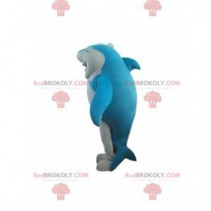 Mascota de tiburón azul y blanco, traje de mar - Redbrokoly.com