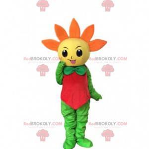 Mascote gigante de flores amarelas e laranjas, fantasia de