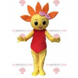 Mascote gigante de flor laranja e amarela, fantasia de