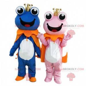 2 mascottes van blauwe en roze kikkers, paar kikkers -
