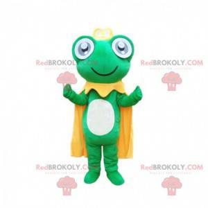 Mascotte groene kikker met een gele cape en een kroon -