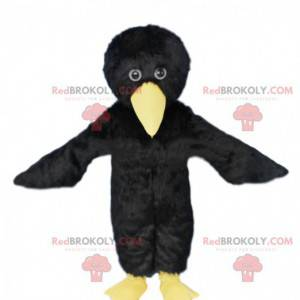 Mascote pássaro preto e amarelo, fantasia de corvo -