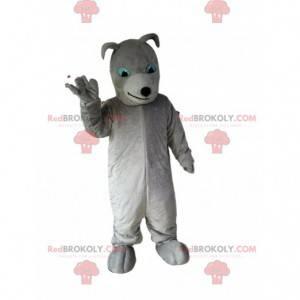 Mascote de cachorro cinza totalmente personalizável, traje