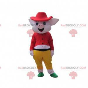 Roze varken mascotte volledig gekleed, kostuum 3 biggetjes -