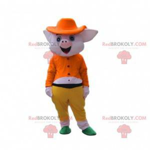 Pink pig mascot fully dressed, costume 3 little pigs -
