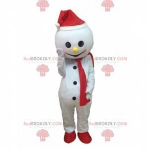 Mascota de muñeco de nieve blanco con sombrero y bufanda -