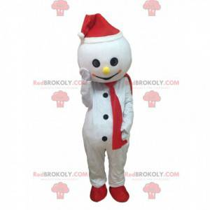 White snowman mascot with a hat and scarf - Redbrokoly.com