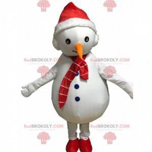 Weißes Schneemannmaskottchen mit einer Mütze und einem Schal -