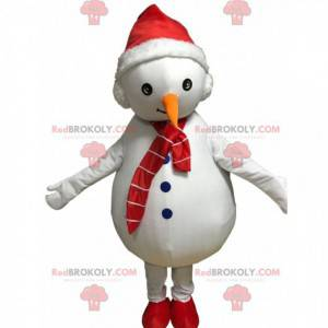 Witte sneeuwpop mascotte met een hoed en sjaal - Redbrokoly.com