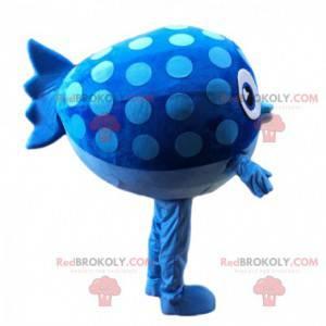 Mascote de peixe azul, gordo e engraçado, fantasia de peixe