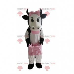 Mascotte mucca bianca, nera e rosa, costume da mucca -