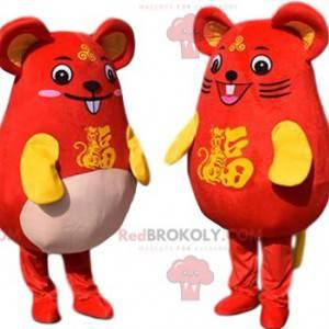 2 Maskottchen von gelben und roten Mäusen, ein paar Mäuse -