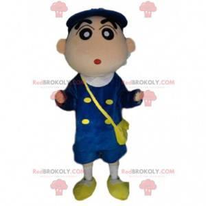 Mascote do carteiro, fantasia de entregador uniformizado -
