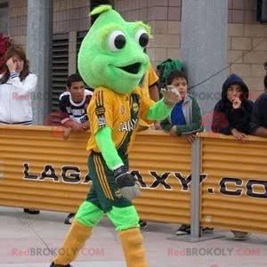 Grøn frø maskot med store øjne - Redbrokoly.com