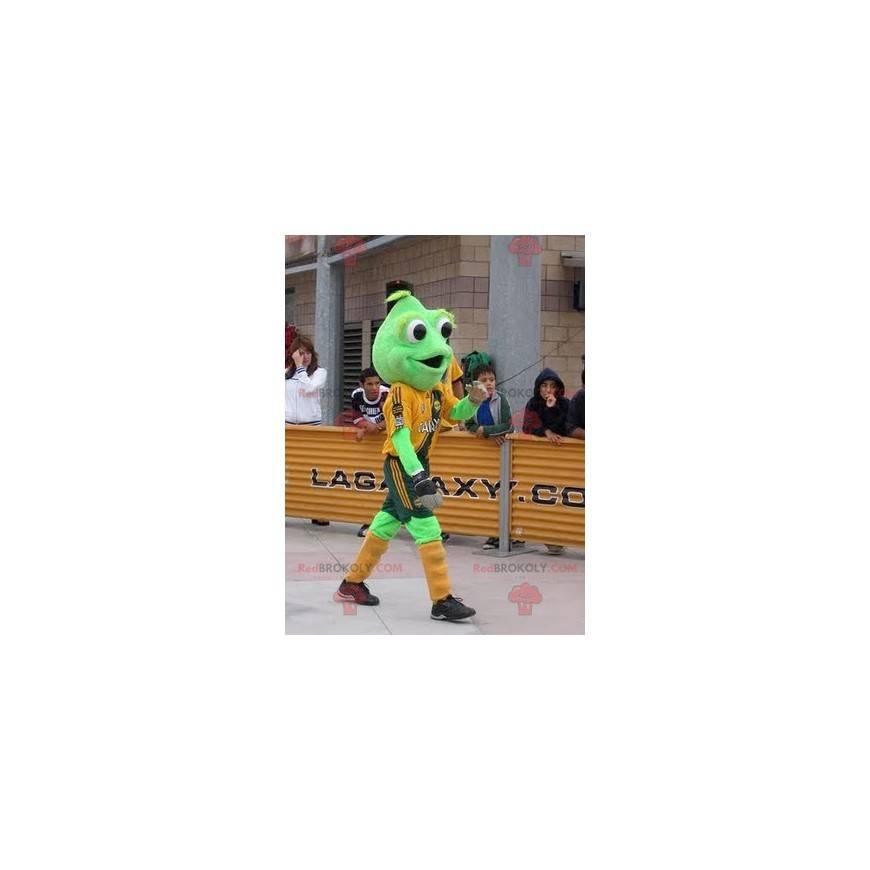 Grünes Froschmaskottchen mit großen Augen - Redbrokoly.com