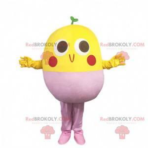 Mascote pássaro amarelo e rosa, fantasia de soja -