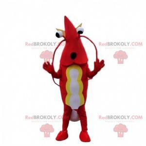 Mascot rode en witte garnalen, kreeft kostuum - Redbrokoly.com