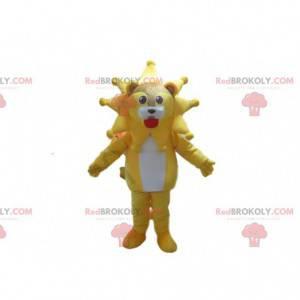 Mascota del león con su melena en forma de estrella, sol -