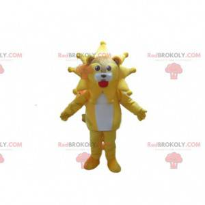Mascotte leone con la sua criniera a forma di stella, sole -