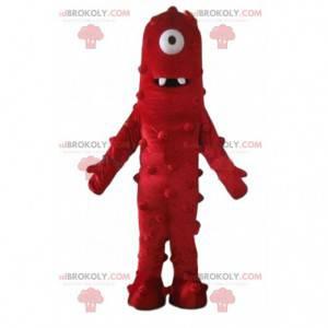 Maskot rød cyclops monster, meget sjov og original -
