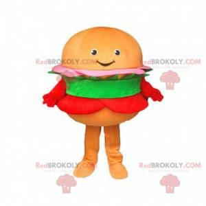 Mascote de hambúrguer laranja, fantasia de hambúrguer -