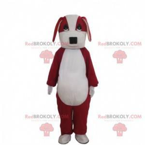Mascota de perro rojo y blanco, disfraz de perrito de dos tonos