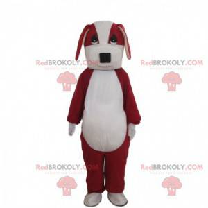Red and white dog mascot, two-tone doggie costume -