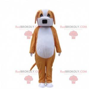 Mascote cachorro laranja e branco, fantasia de cachorrinho em