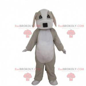 Fuldt tilpasselig grå og hvid hundemaskot - Redbrokoly.com