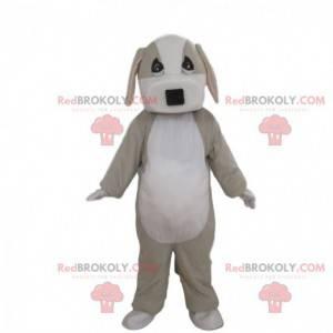 Mascote cão cinza e branco totalmente personalizável -
