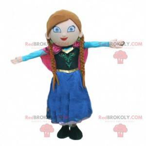 Princesa mascote com tranças e um lindo vestido colorido -